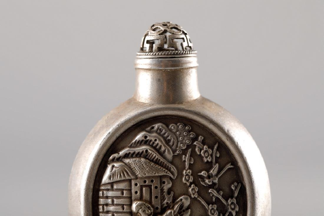 SILVER CARVED IMPRINT SNUFF BOTTLE - 7