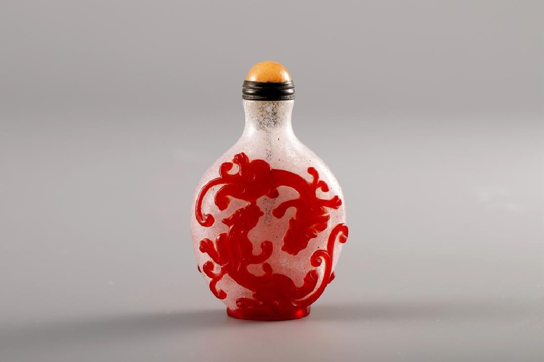 DOUBLE COLOR DRAGON GRAIN SNUFF BOTTLE