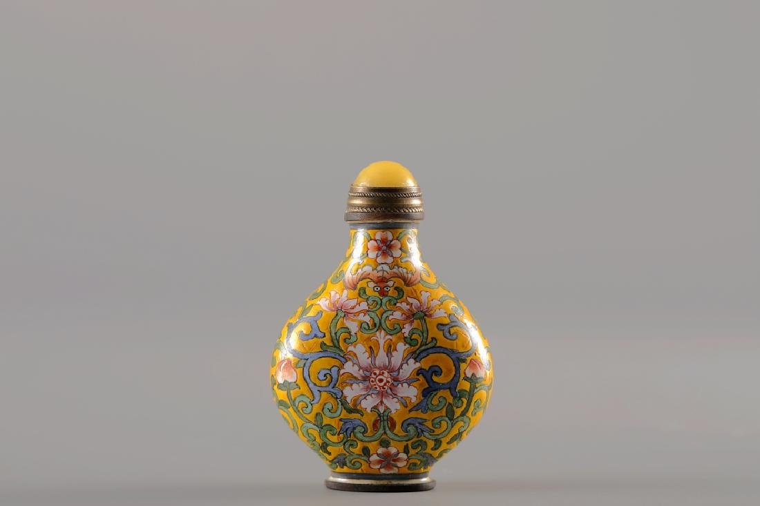 CLOISONNE YELLOW GLAZED SNUFF BOTTLE