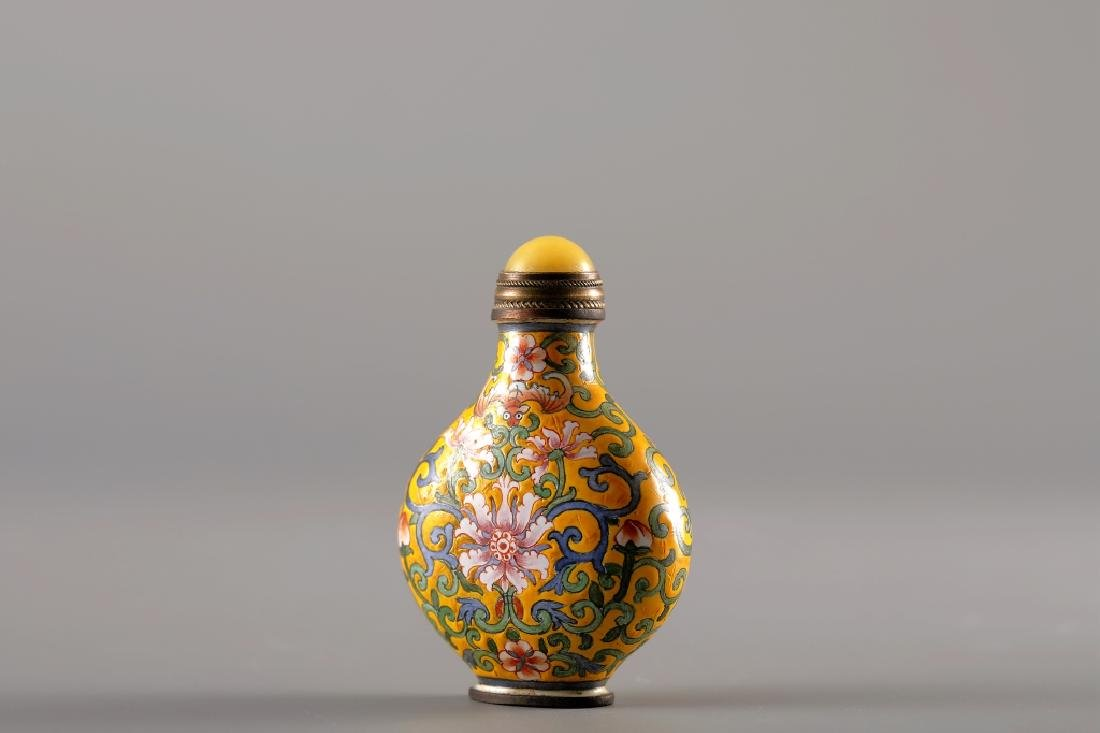 CLOISONNE YELLOW GLAZED SNUFF BOTTLE - 2