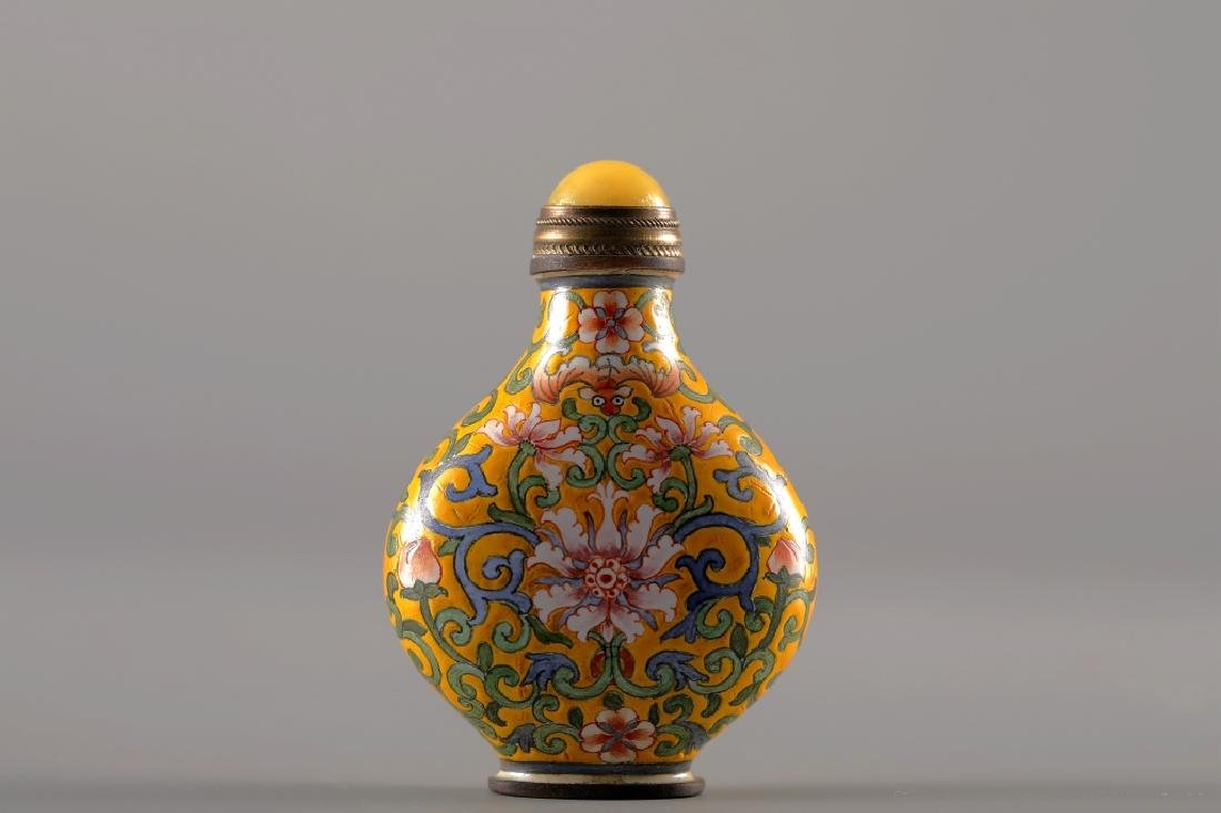 CLOISONNE YELLOW GLAZED SNUFF BOTTLE - 6