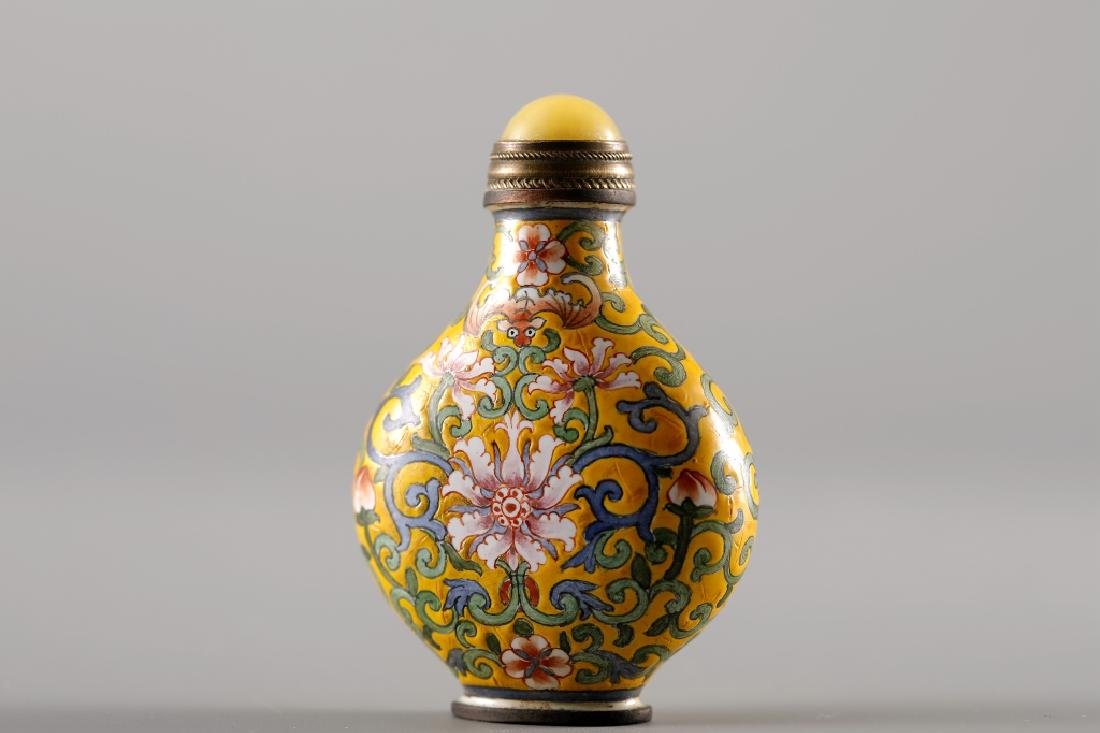 CLOISONNE YELLOW GLAZED SNUFF BOTTLE - 7