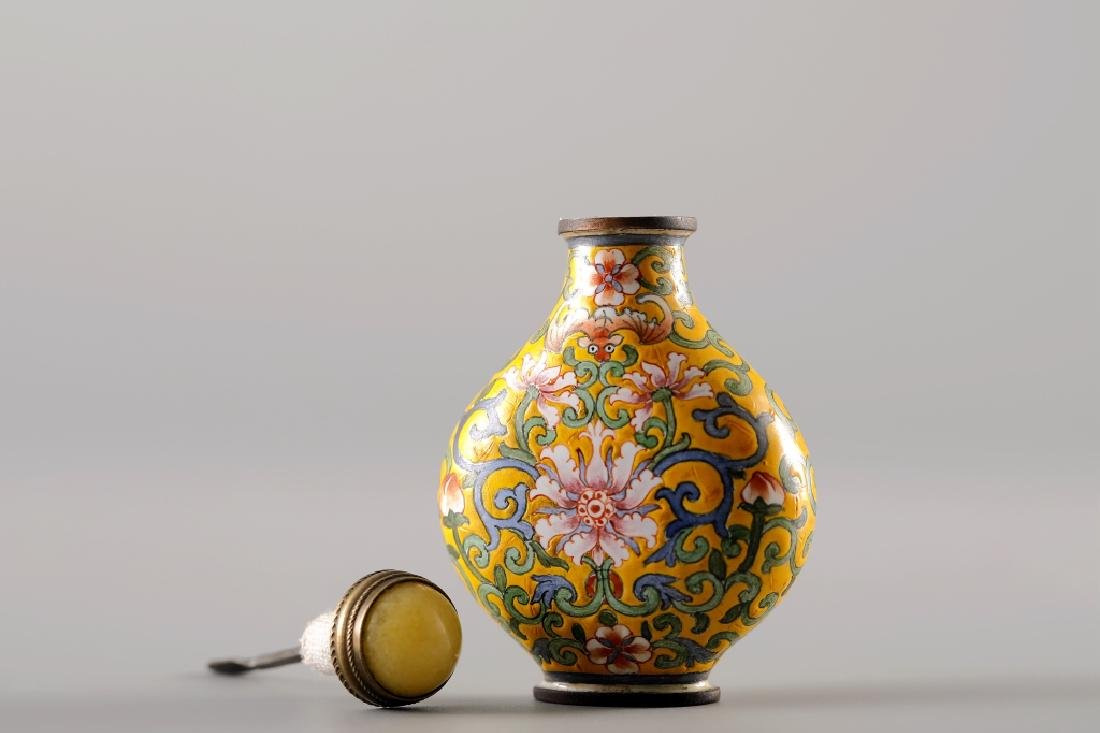CLOISONNE YELLOW GLAZED SNUFF BOTTLE - 8