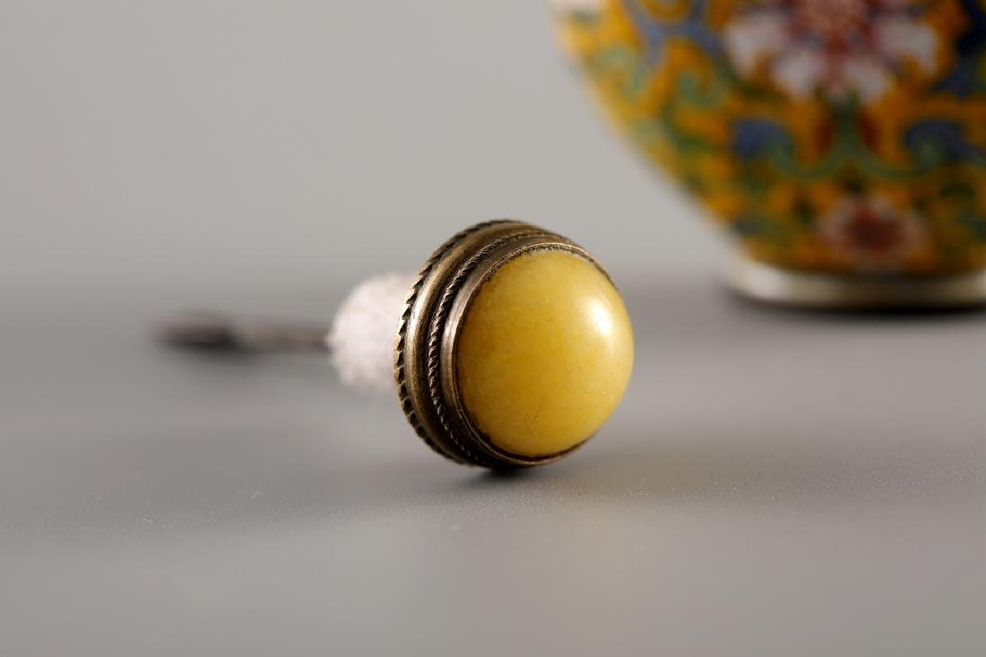 CLOISONNE YELLOW GLAZED SNUFF BOTTLE - 9