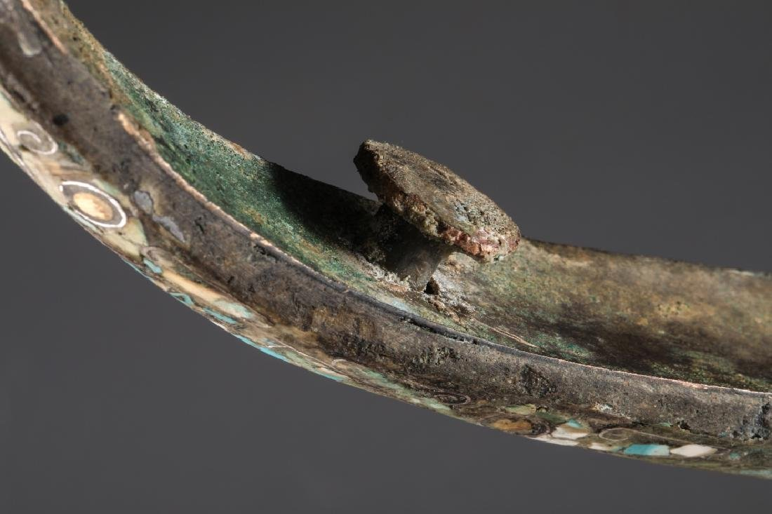 BRONZE GOLD AND SILVER PLATING INLAY TURQUOISE HOOK,HAN - 6