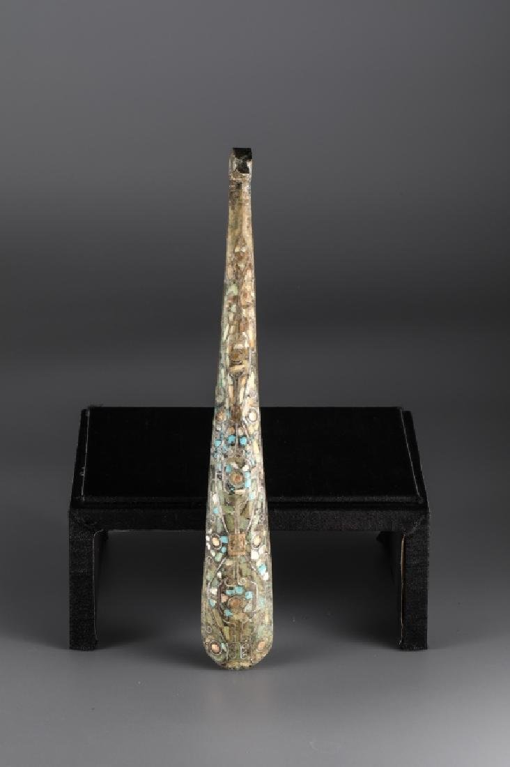 BRONZE GOLD AND SILVER PLATING INLAY TURQUOISE HOOK,HAN - 7