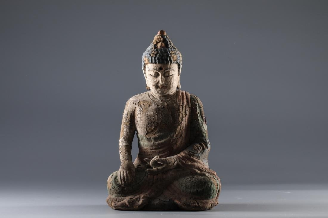 WOOD COLOR PAINTING SAKYAMUNI BUDDHA FIGURE - 2
