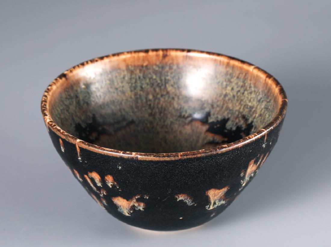 JIZHOU KILN BLACK GLAZED TORTOISE SHELL GRAIN CUP - 3