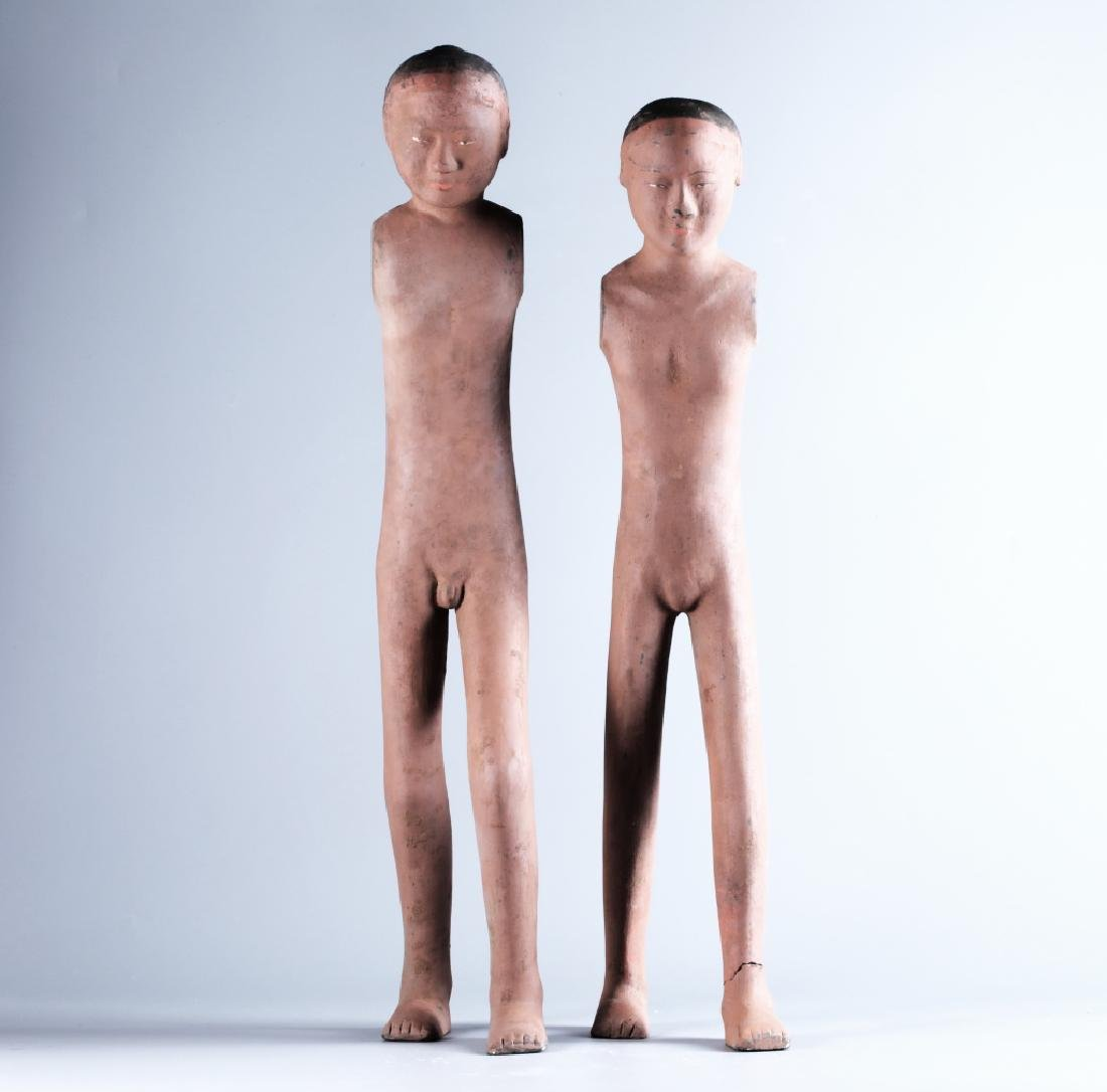 RED POTTERY CHARACTER FIGURE (PAIR) - 2
