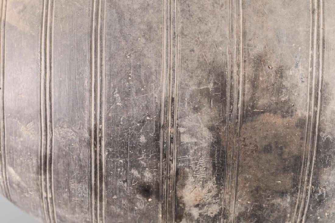 GRAY POTTERY COCOON SHAPE JAR - 6