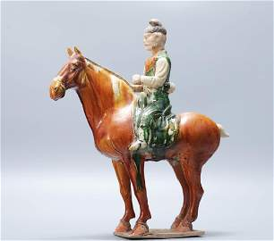 Tang Dynasty tri-colors tomb horse statue