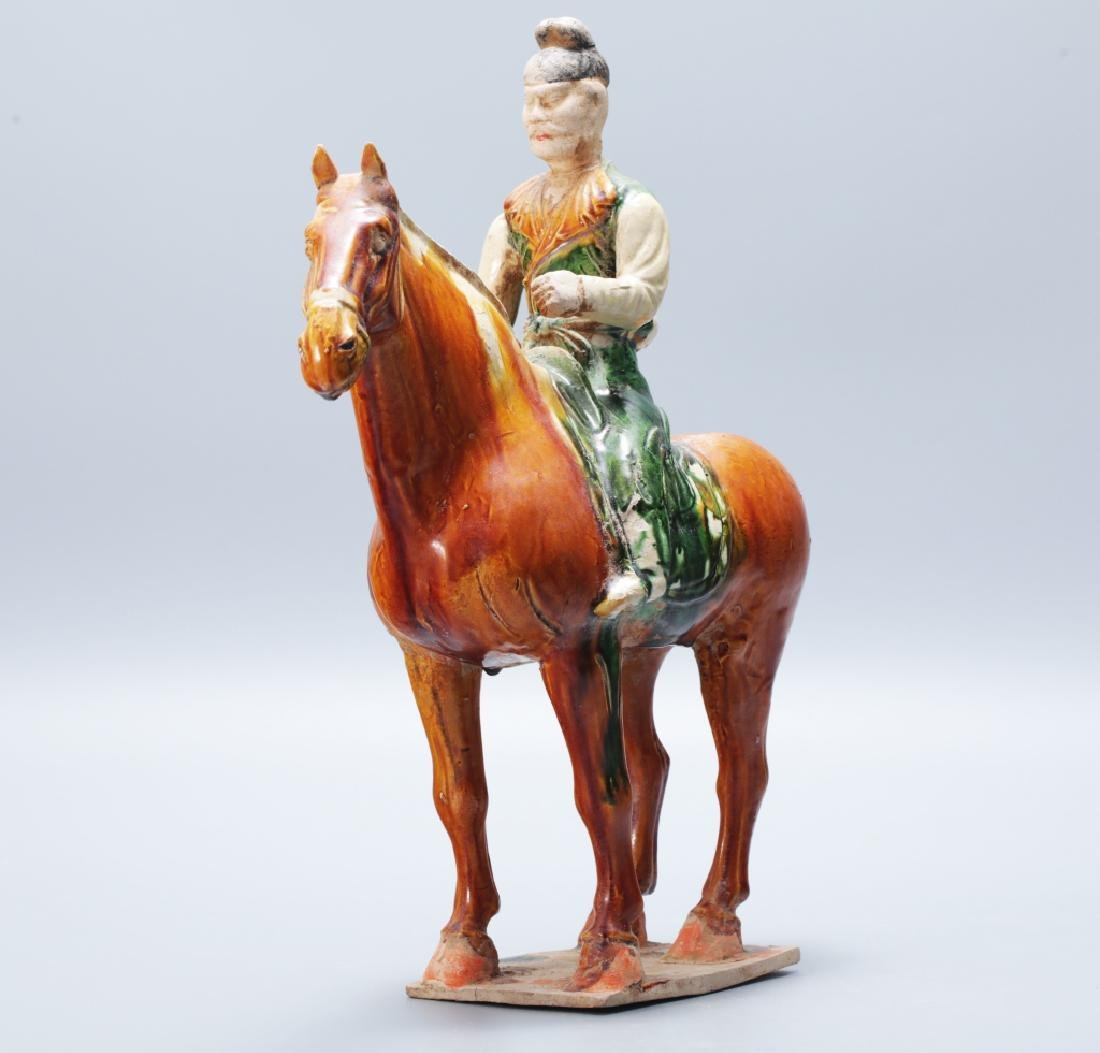Tang Dynasty tri-colors tomb horse statue - 2