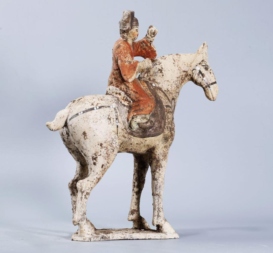 WHITE POTTERY PATINTED POTTERY RIDING HORSE - 3