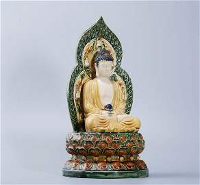 THREE-COLOR PAINTED FIGURE OF BUDDHA WITH BACKLIGHT