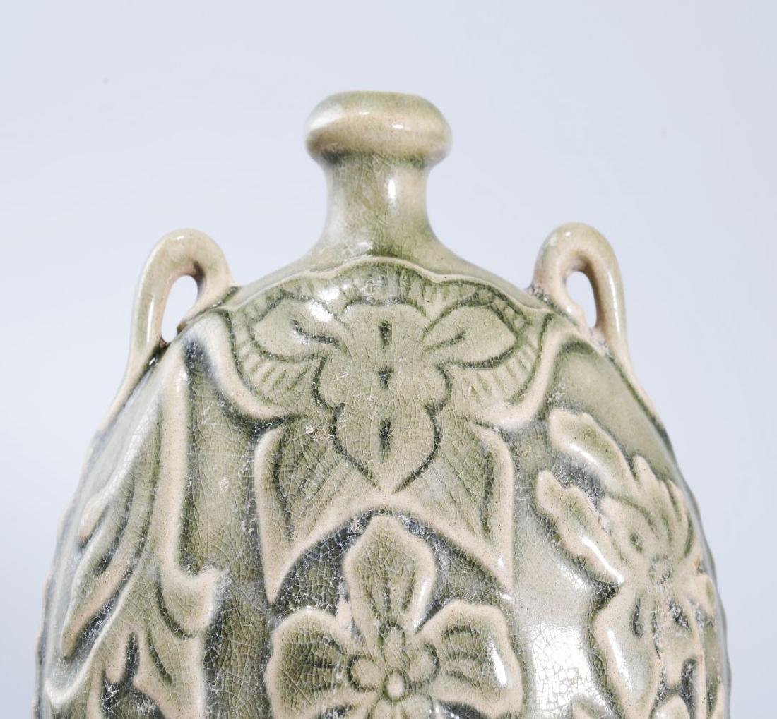 YAOZHOU KILN FLASK CARVED PEONY PATTERN - 2