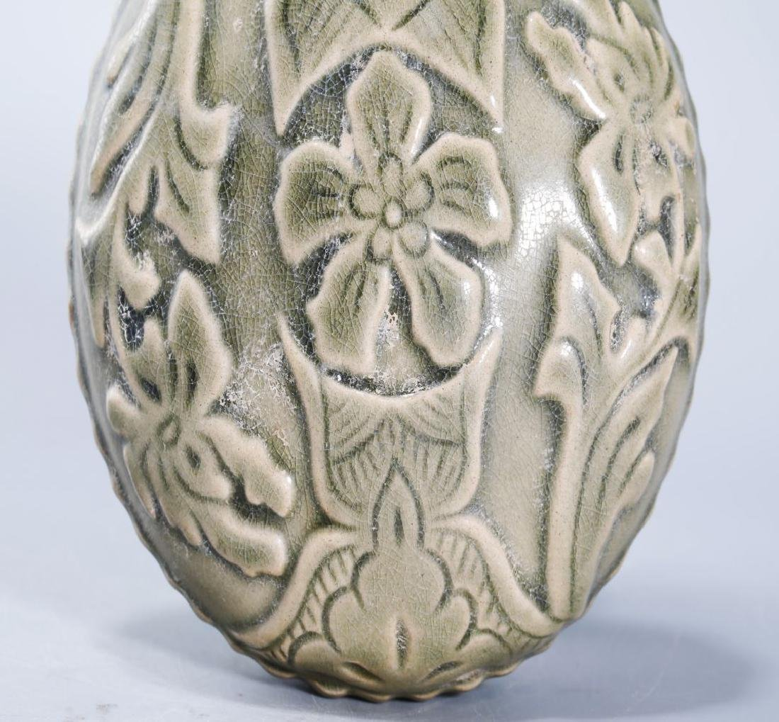 YAOZHOU KILN FLASK CARVED PEONY PATTERN - 3