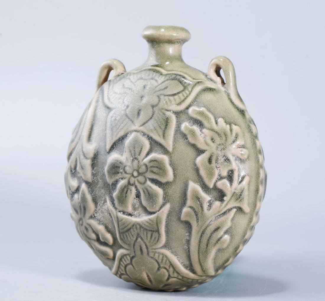 YAOZHOU KILN FLASK CARVED PEONY PATTERN - 4