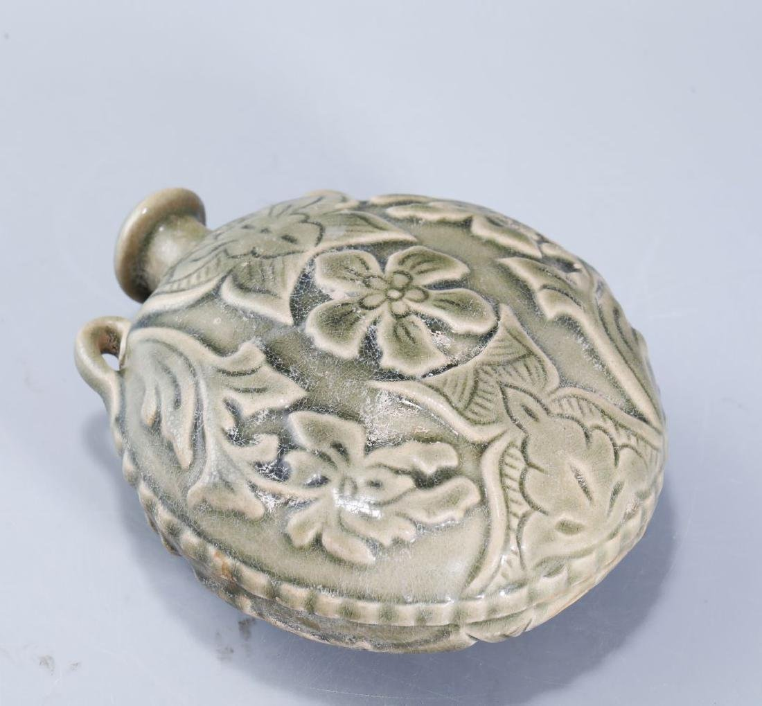 YAOZHOU KILN FLASK CARVED PEONY PATTERN - 7
