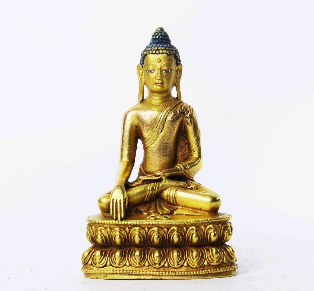 CARVED WOOD GAUTAMA BUDDHA