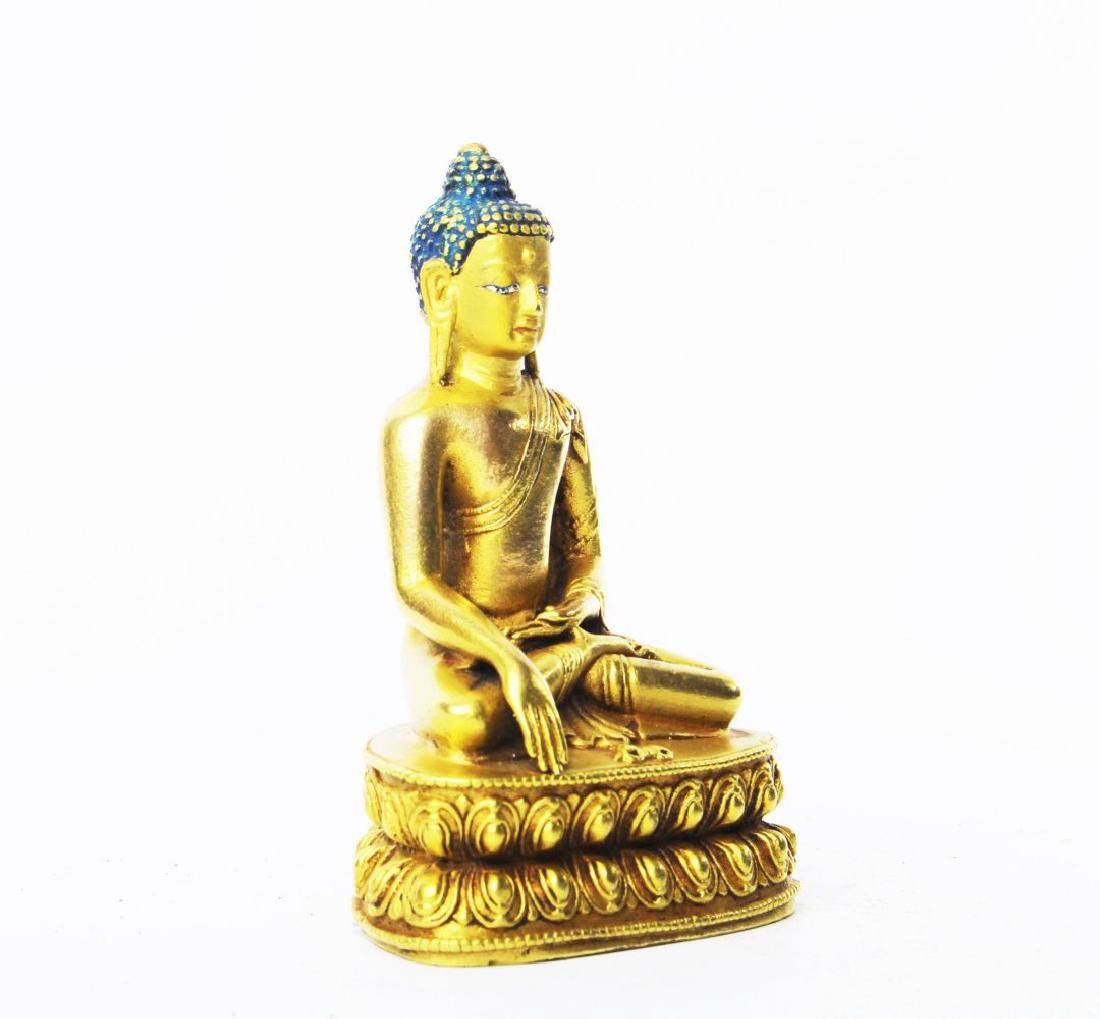 CARVED WOOD GAUTAMA BUDDHA - 5