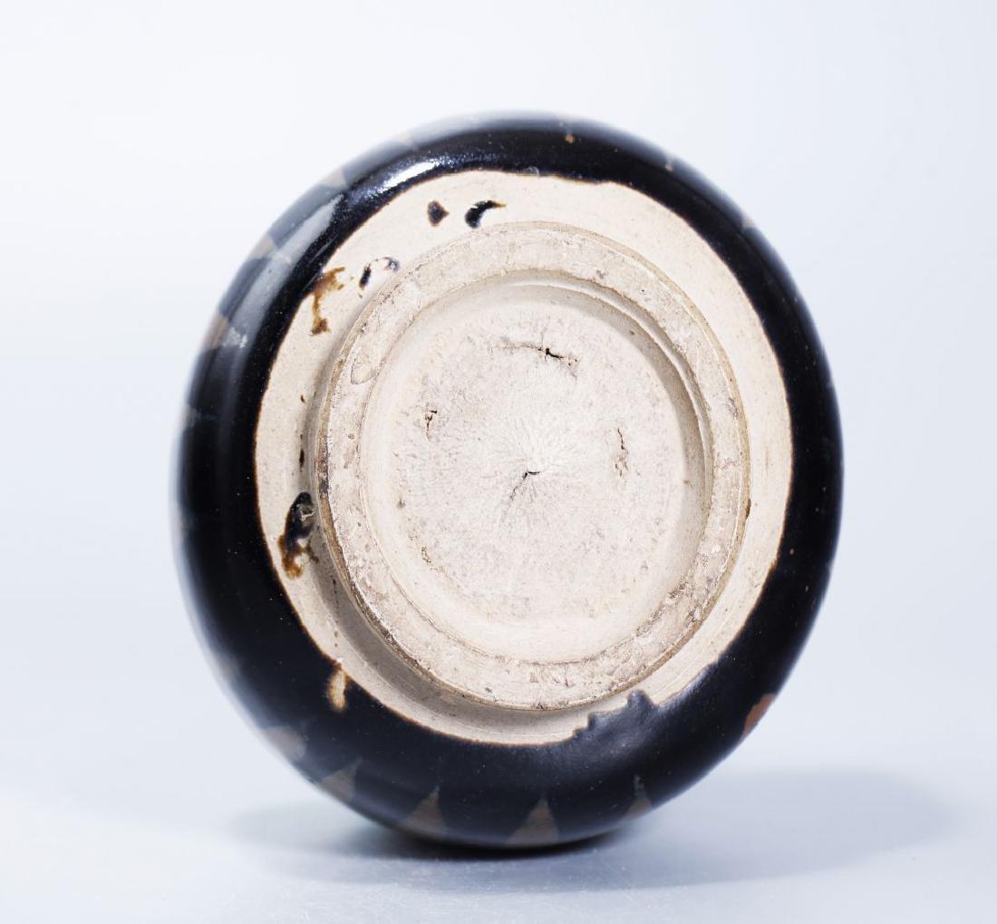 BLACK GLAZED BOWL WITH RUSTY FLOWER - 4