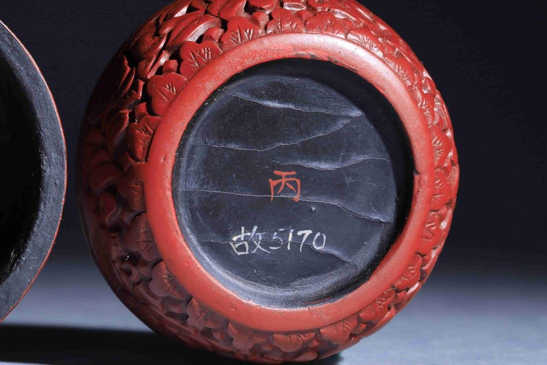 QING DYNASTY LARGE RED PAINTED ROUND POWDER BOX - 5