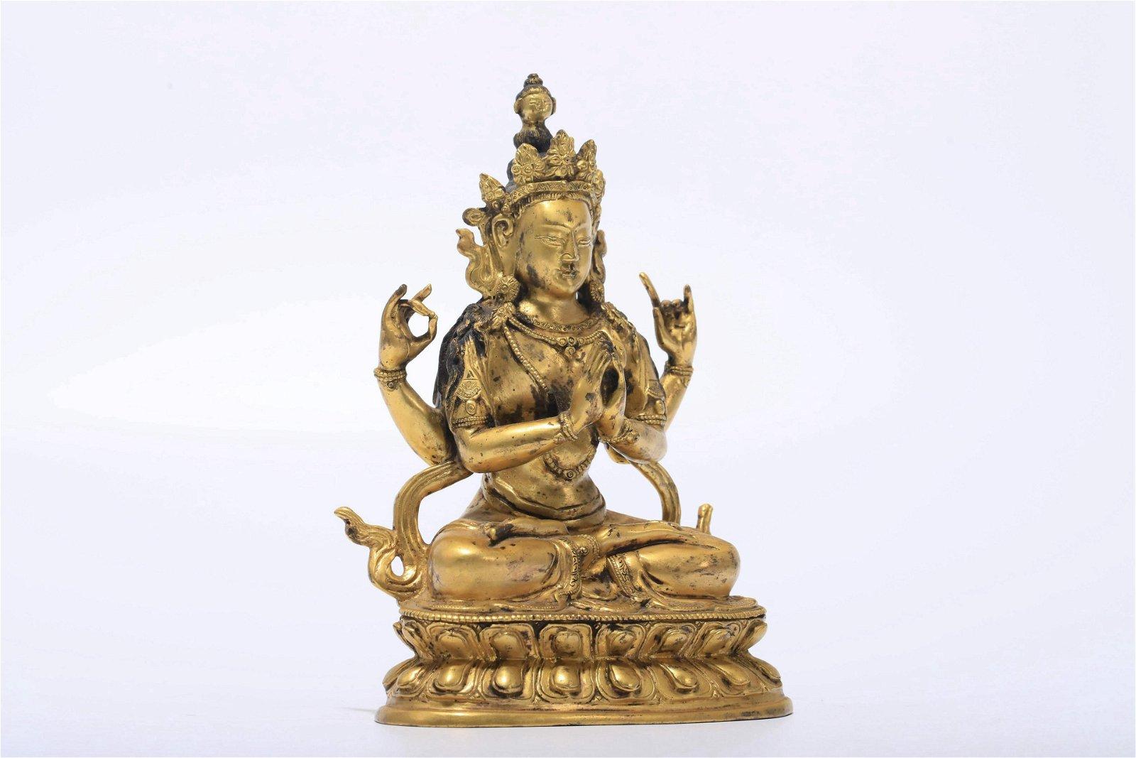 A Gilded Bronze Buddha Statue