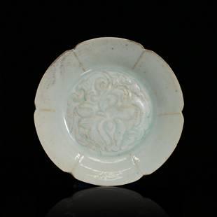 Hu Tian Kiln Underblue Glazed Plate with Flower Print