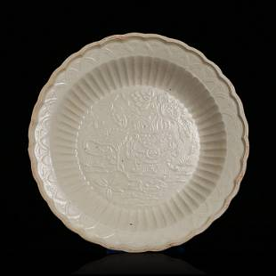 Ding Kiln Plate in Printed Flower Pattern