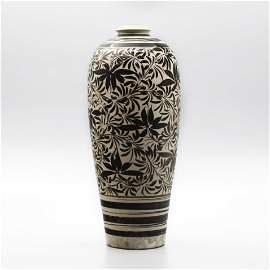 Ci Zhou Kiln White Ground Tall Vase in Black Flying Hay