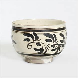 He Nan Kiln Shallow Bowl With Black Flowers in White
