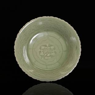 Long Quan Sauce Plate with Cut Flower Pattern in Soft