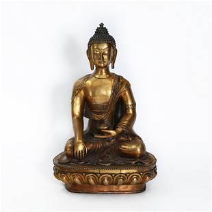 Buddha Statue of Shakvamuni in Gilded Copper