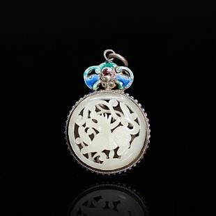 Hetian Jade Accessory in Blue Silver