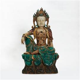 A Famille Verte Biscuit Guanyin