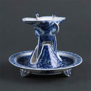 Ming Dynasty Blue and White Waved Dragon Design and