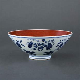 "Blue and white Ji red glaze large bowl ""Da Ming Xuande"