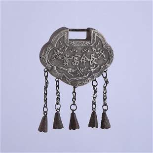 Long life and wealth silver lock pendant