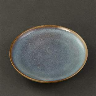 A FINE 'JUN' BLUE-GLAZED DISH