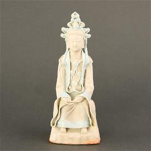 A 'QINGBAI' BISCUIT FIGURE OF A SEATED BODHISATTVA