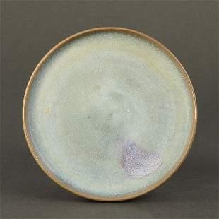 A PURPLE-SPLASHED 'JUN' LAVENDER-BLUE GLAZED DISH
