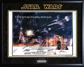 """STAR WARS: A New Hope"" - RARE UK Quad CAST signed"