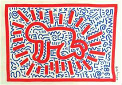 KEITH HARING  Original Radiant Baby color drawing
