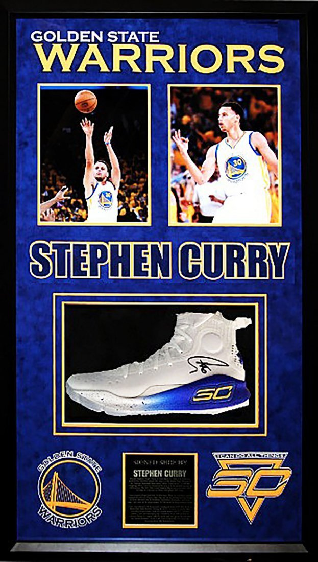 """STEPH CURRY """"Warriors"""" signed """"SC"""" Under Armour shoe"""