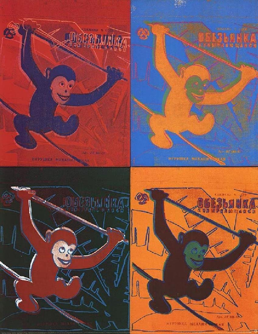 "ANDY WARHOL - 'Four Monkeys"" RARE 1990 Offset"