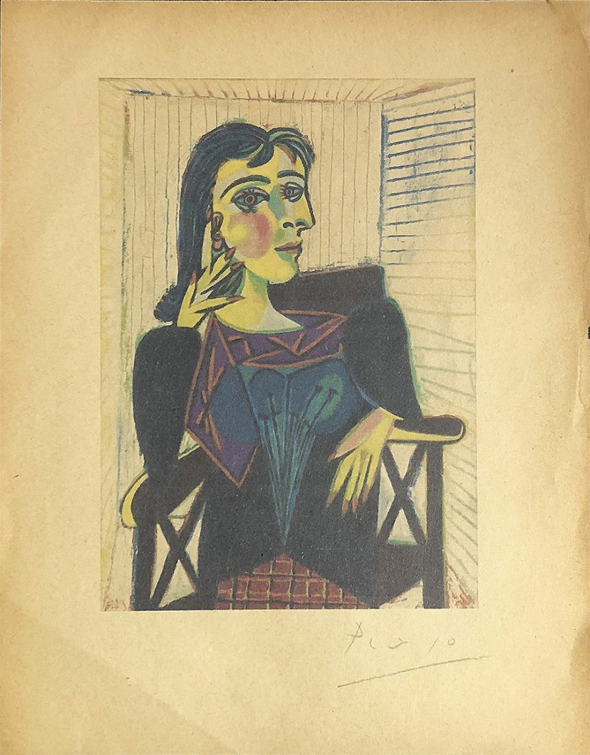 PABLO PICASSO - 'Woman Seated' Vintage Hand-Signed