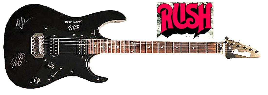 """RUSH"" - Rare black Ibanez Electric Guitar signed by"