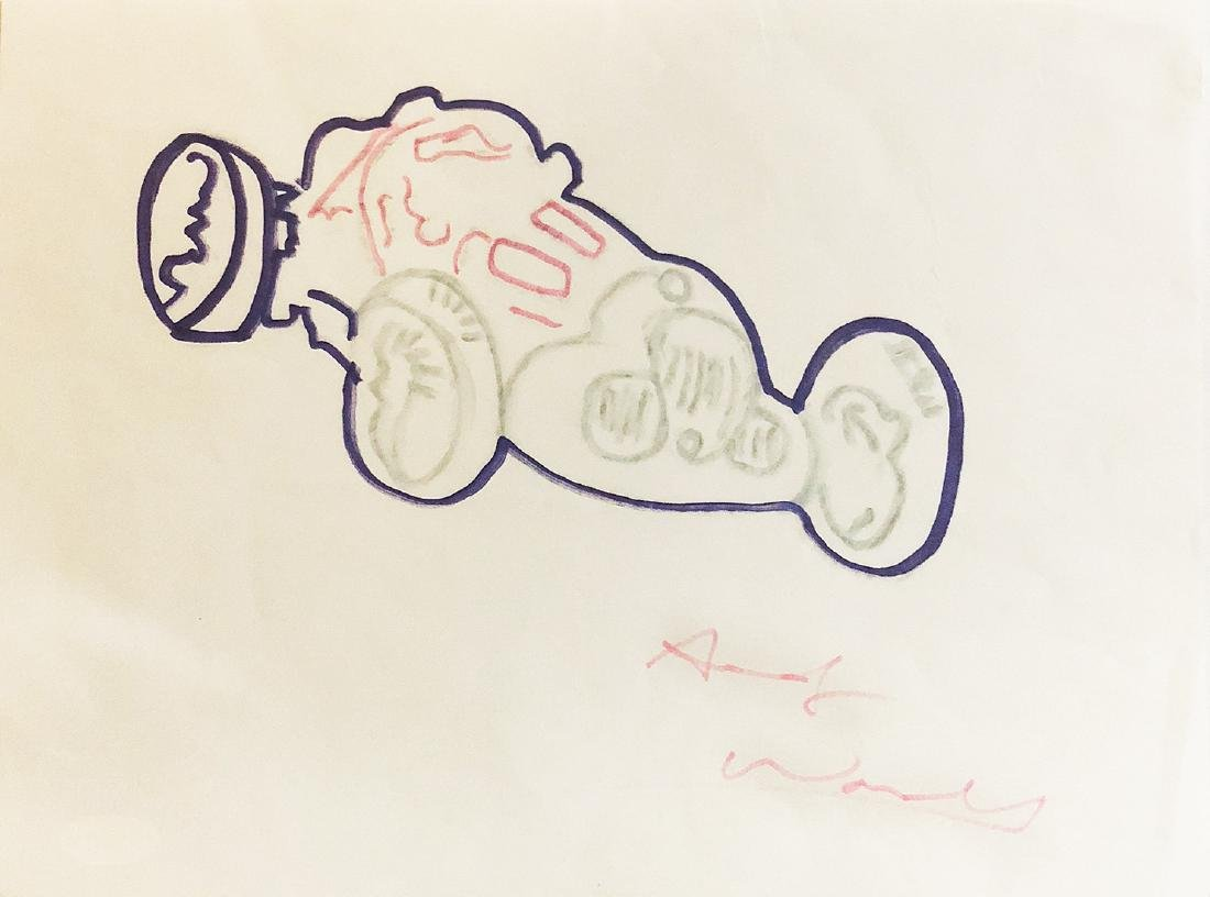 ANDY WARHOL - 'Race Car' HAND-DRAWN and Signed