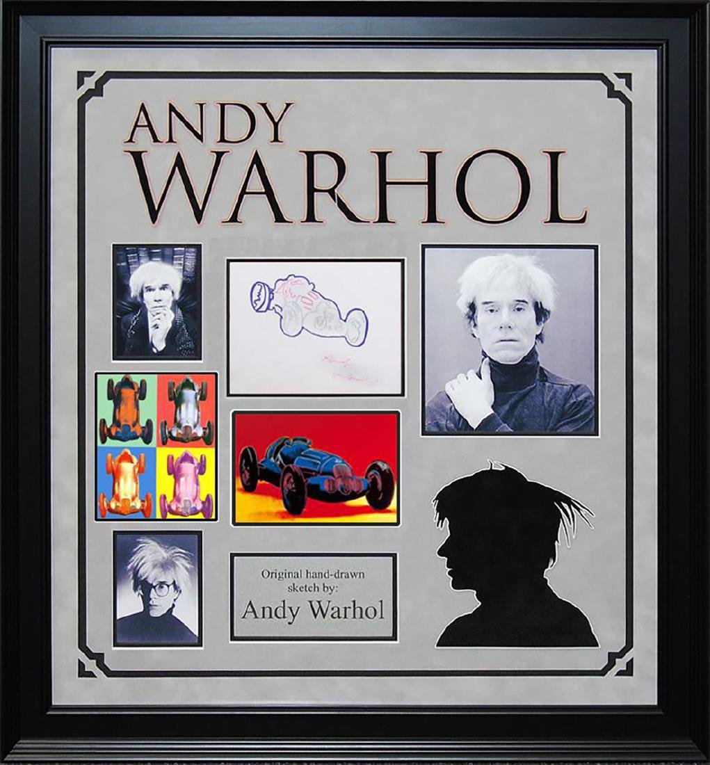 ANDY WARHOL - 'Race Car' HAND-DRAWN and Signed - 2