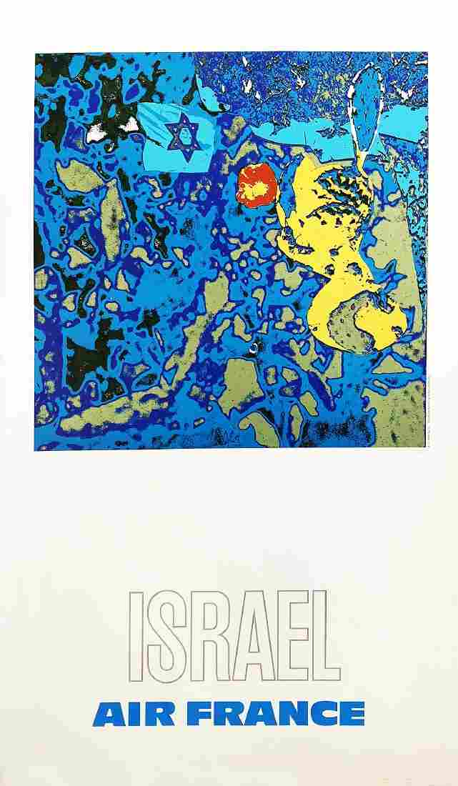 """AIR FRANCE"" - Rare 1971 'Israel' Lithograph feat."